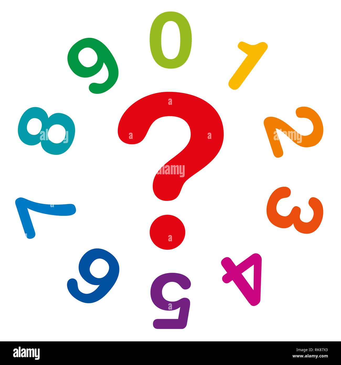 Ten rainbow colored numbers, from one to zero, forming a circle, with red question mark in the middle as symbol for numerology and fortune telling. - Stock Image