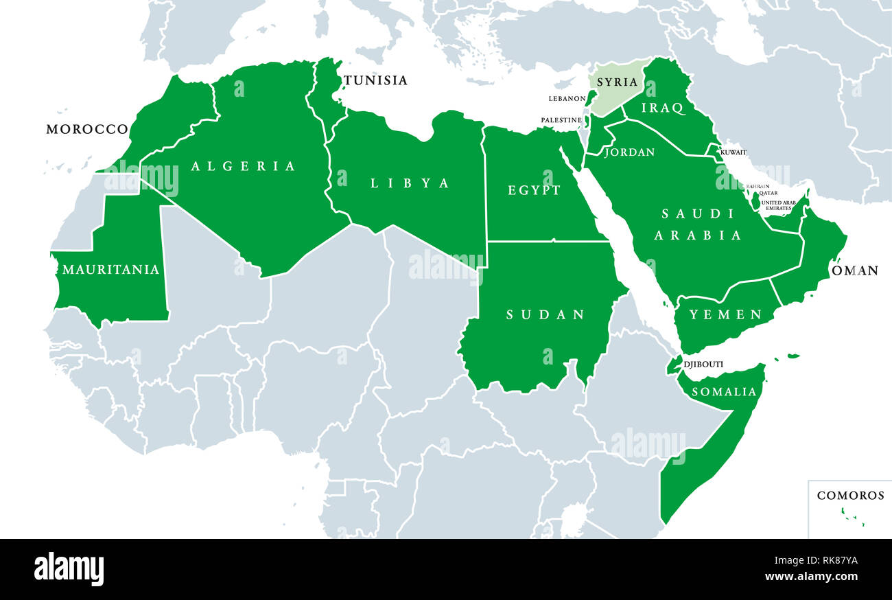 Arab League political map. League of Arab States, location ...