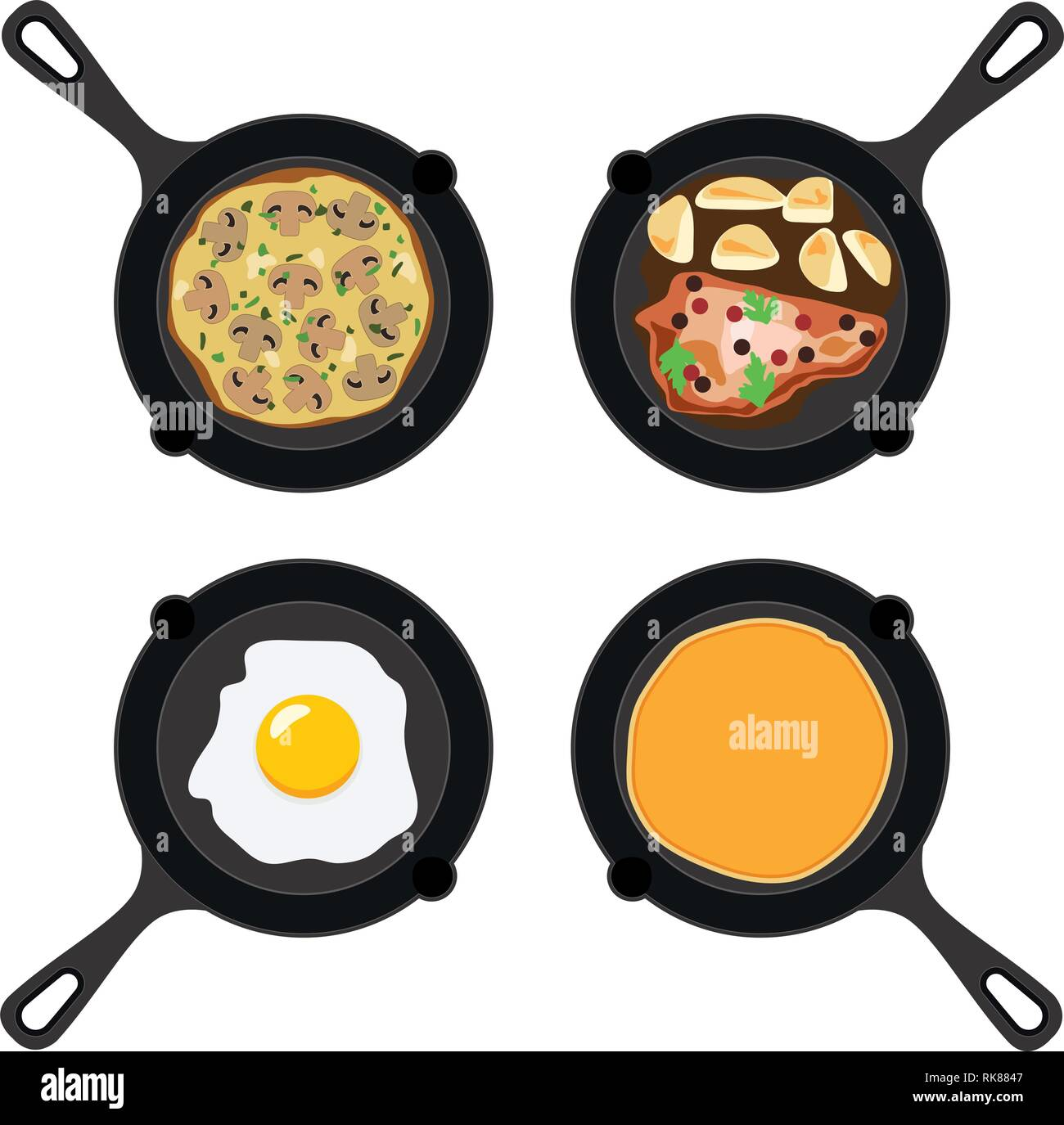 vector set of pans with pancake, fried egg, omelet with mushrooms and fried meat with potatoes. collection of breakfast, dinner and supper flat icons  - Stock Vector