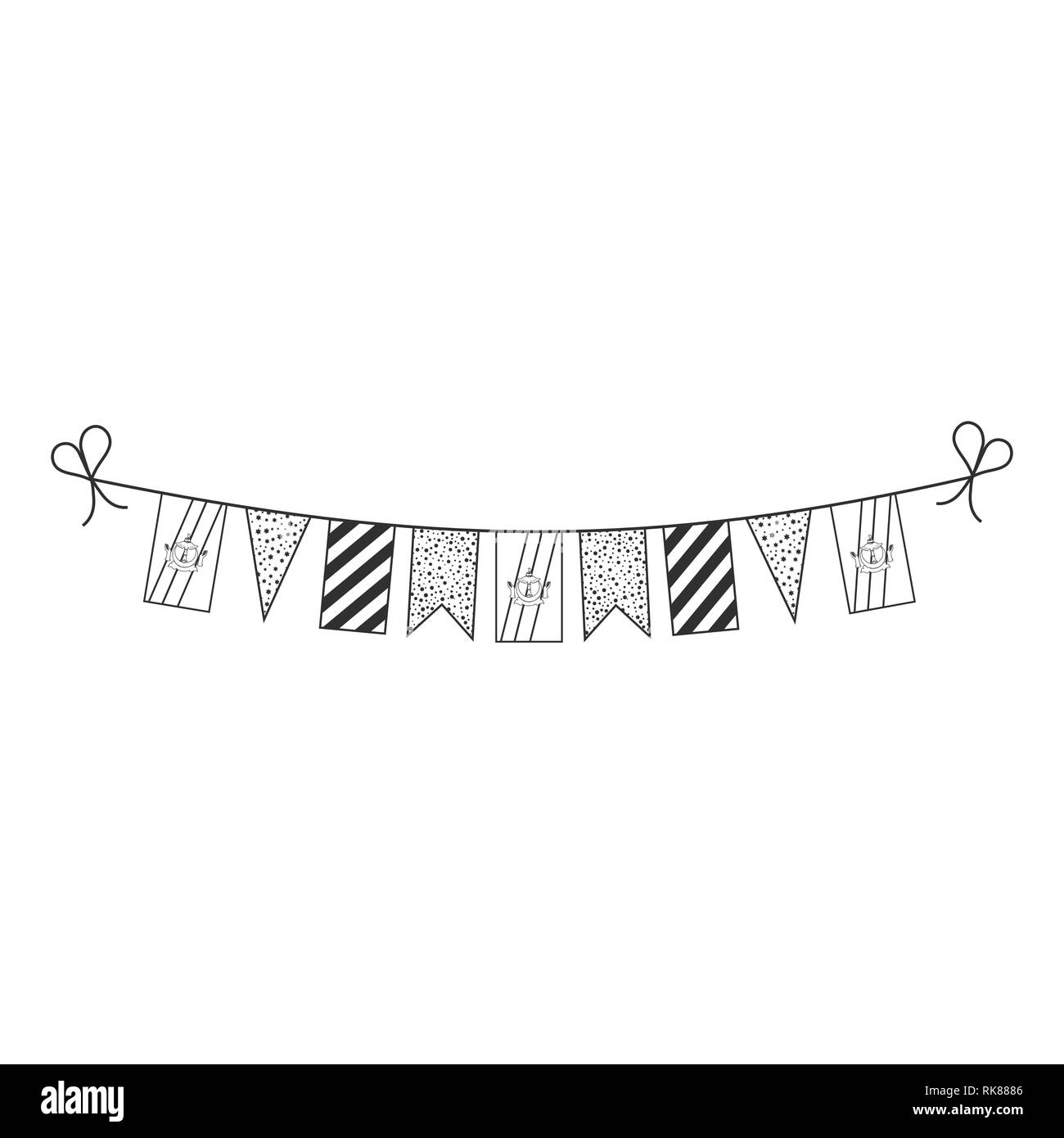 Decorations bunting flags for Brunei national day holiday in black outline flat design. Independence day or National day holiday concept. - Stock Image
