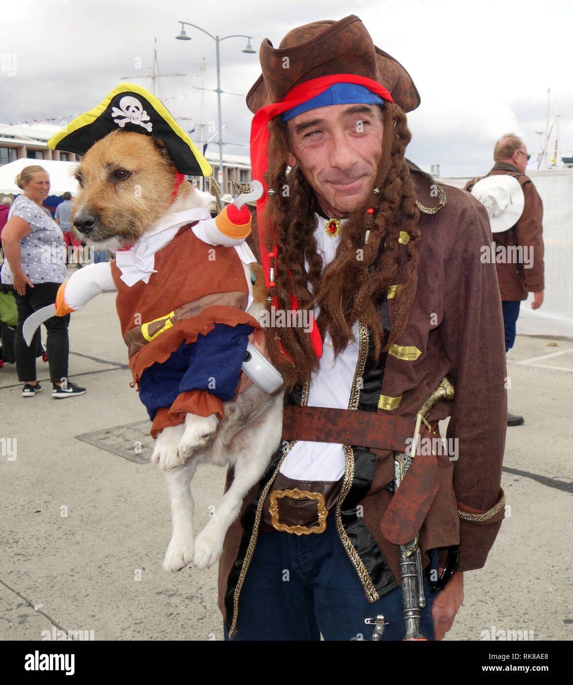 Pirate with his dog who is also in pirate costume, Australian Wooden Boat Festival 2019, Hobart, Tasmania, Australia. No MR Stock Photo