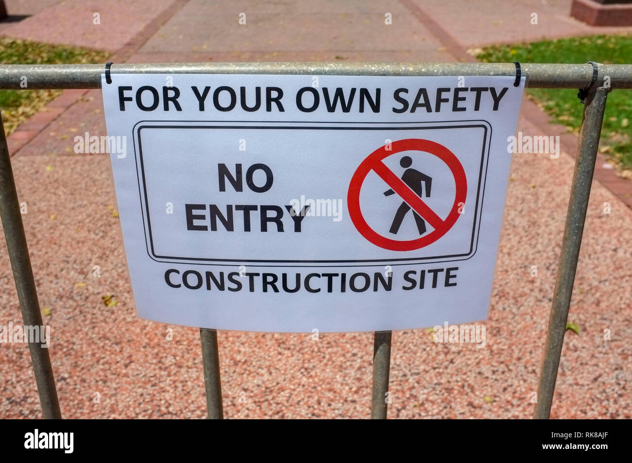A No Entry Construction Site sign. - Stock Image