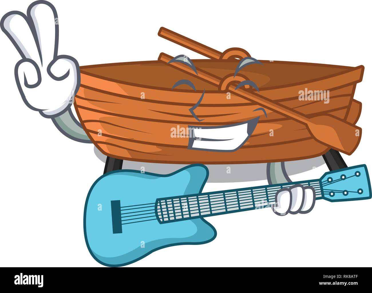 With guitar wooden boat sail at sea character - Stock Image