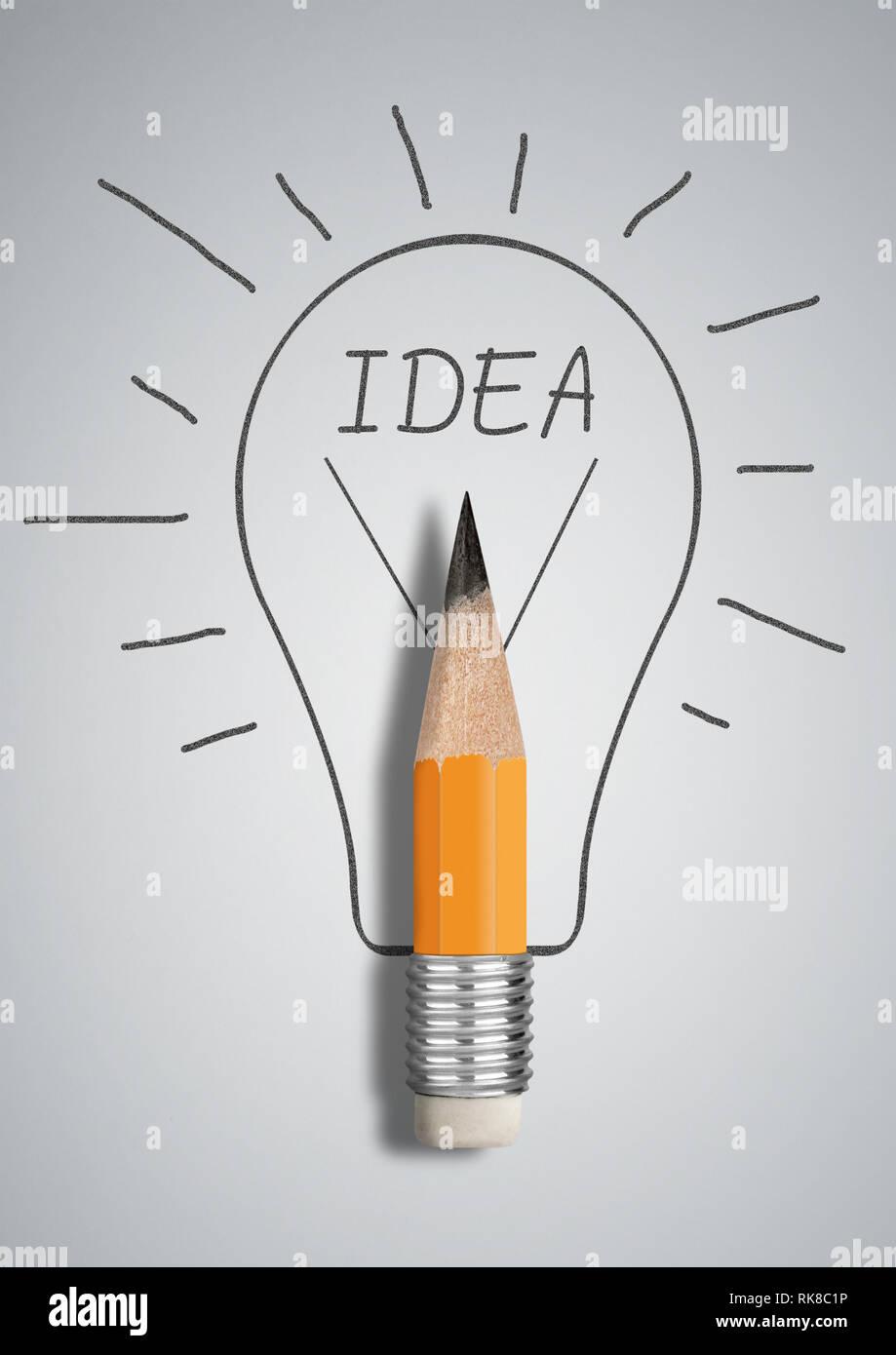 Creative idea concept, pencil with drawn bulb - Stock Image