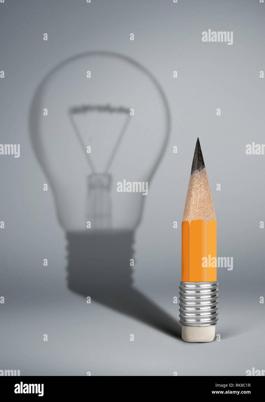 Creative idea concept, pencil with bulb shadow - Stock Image