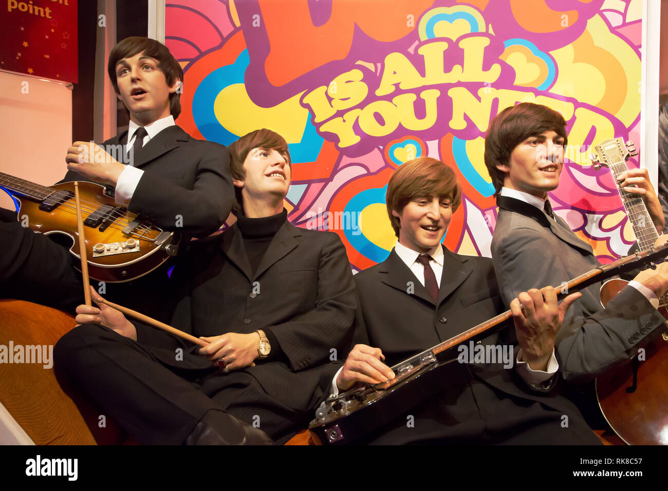 The Beatles in Madame Tussauds of London - Stock Image