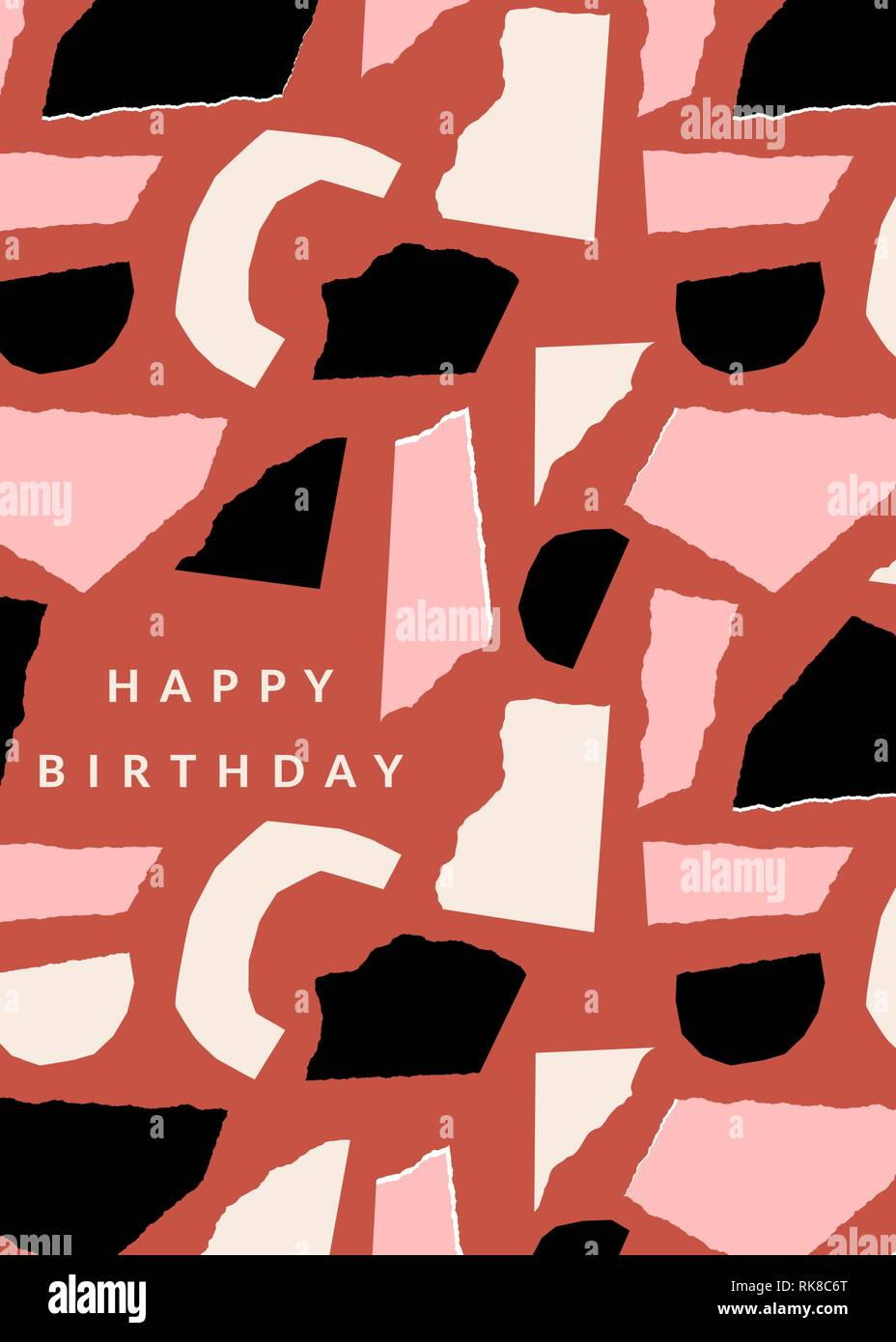 Greeting card template with paper cut shapes in black, pastel pink Inside Birthday Card Collage Template