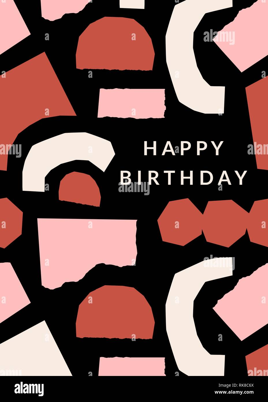 Greeting card template with paper cut shapes in cream, pastel pink Pertaining To Birthday Card Collage Template