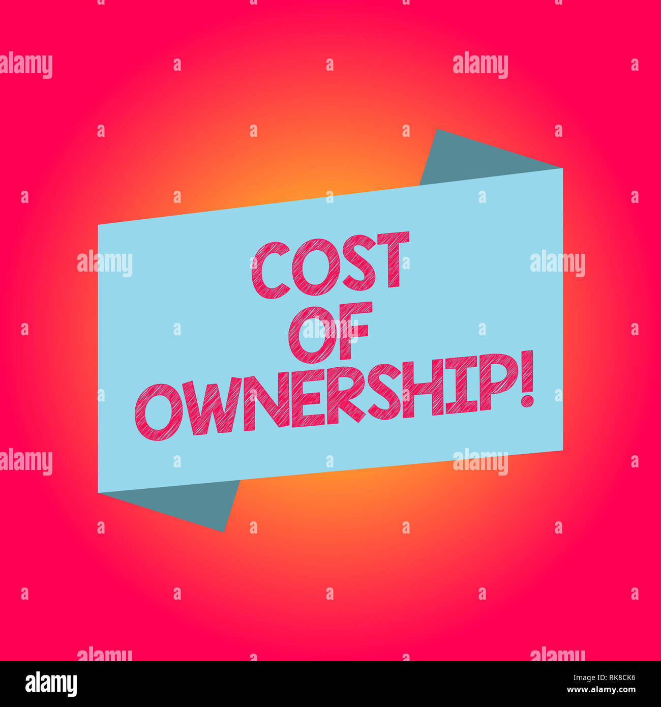 Handwriting text writing Cost Of Ownership. Concept meaning purchase price of asset plus the price of operation Blank Color Folded Banner Strip Flat S Stock Photo