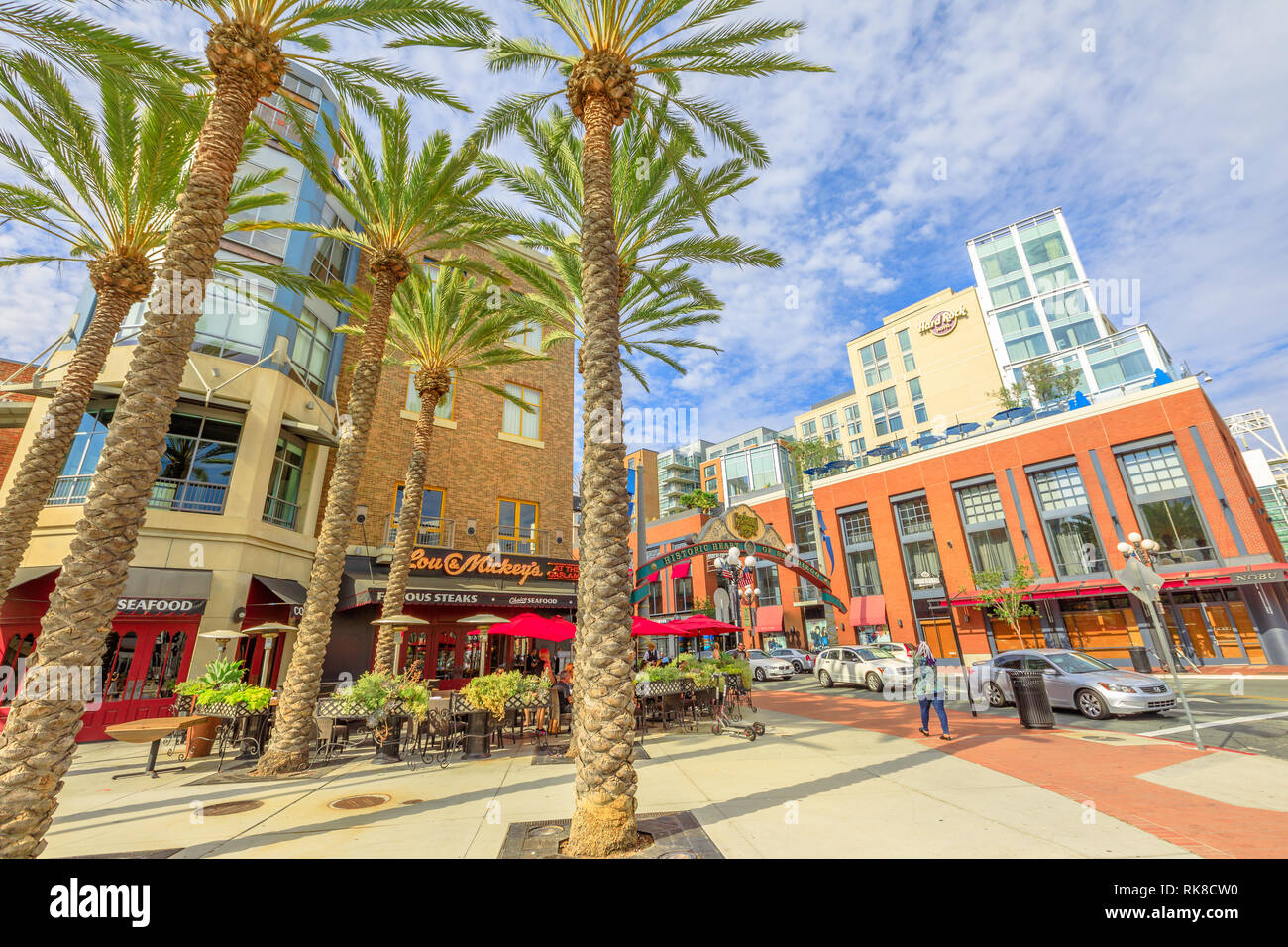 San Diego, California, United States - July 31, 2018: entrance sign to Gaslamp Quarter, a Historic Victorian District of San Diego Downtown. Street - Stock Image