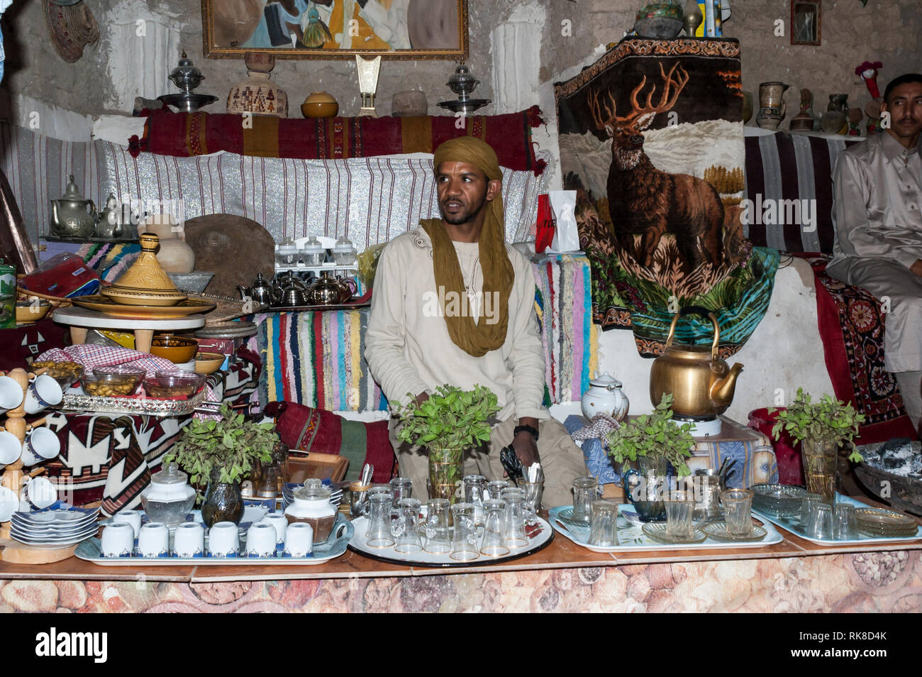 Ghadames, Libya - 11/03/2006: A quaint tee shop in the ancient white city of Ghadames - Stock Image