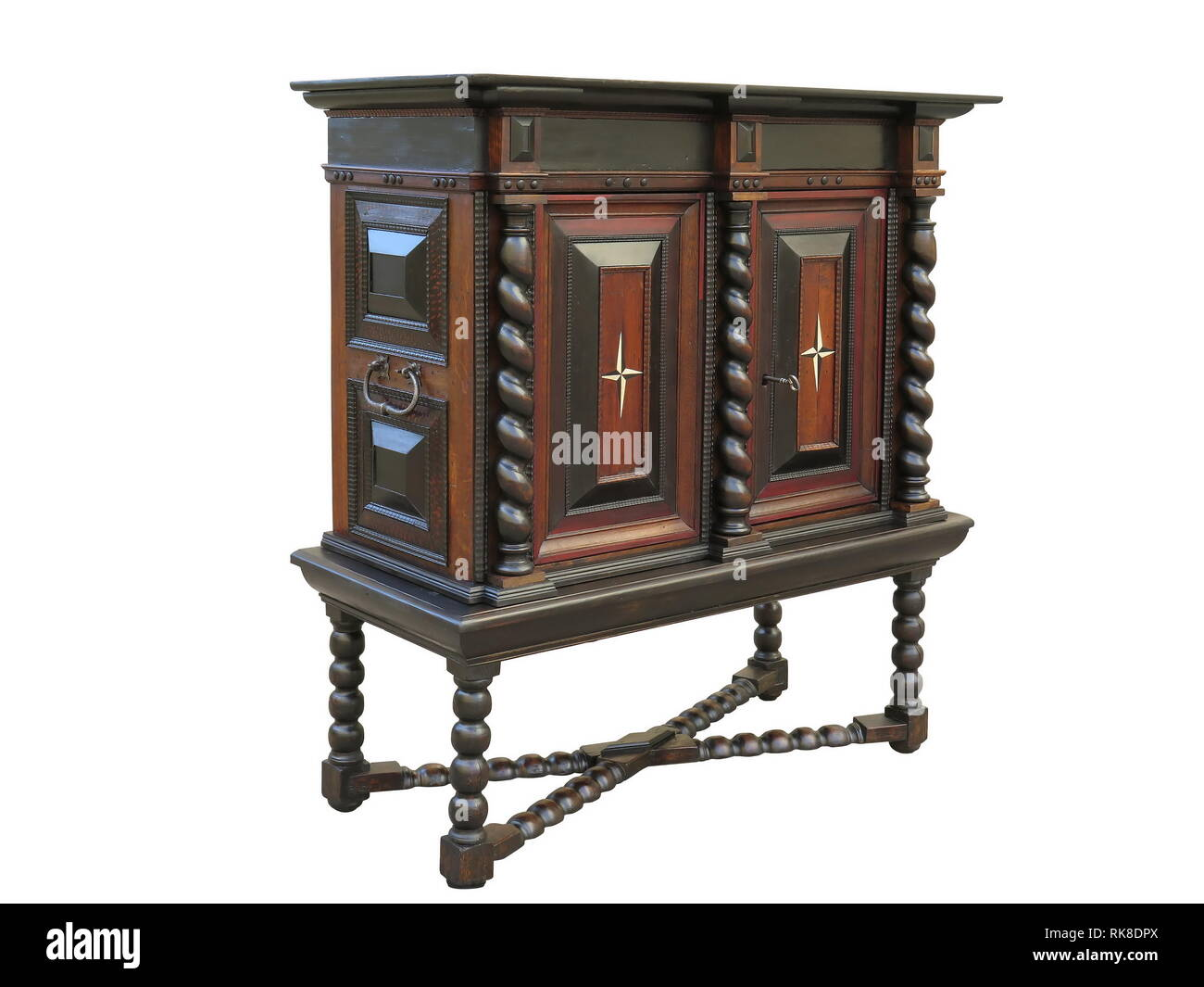 Early Baroque cabinet on stand. Cabinet made in Holland about 1670 to 1700 - Stock Image
