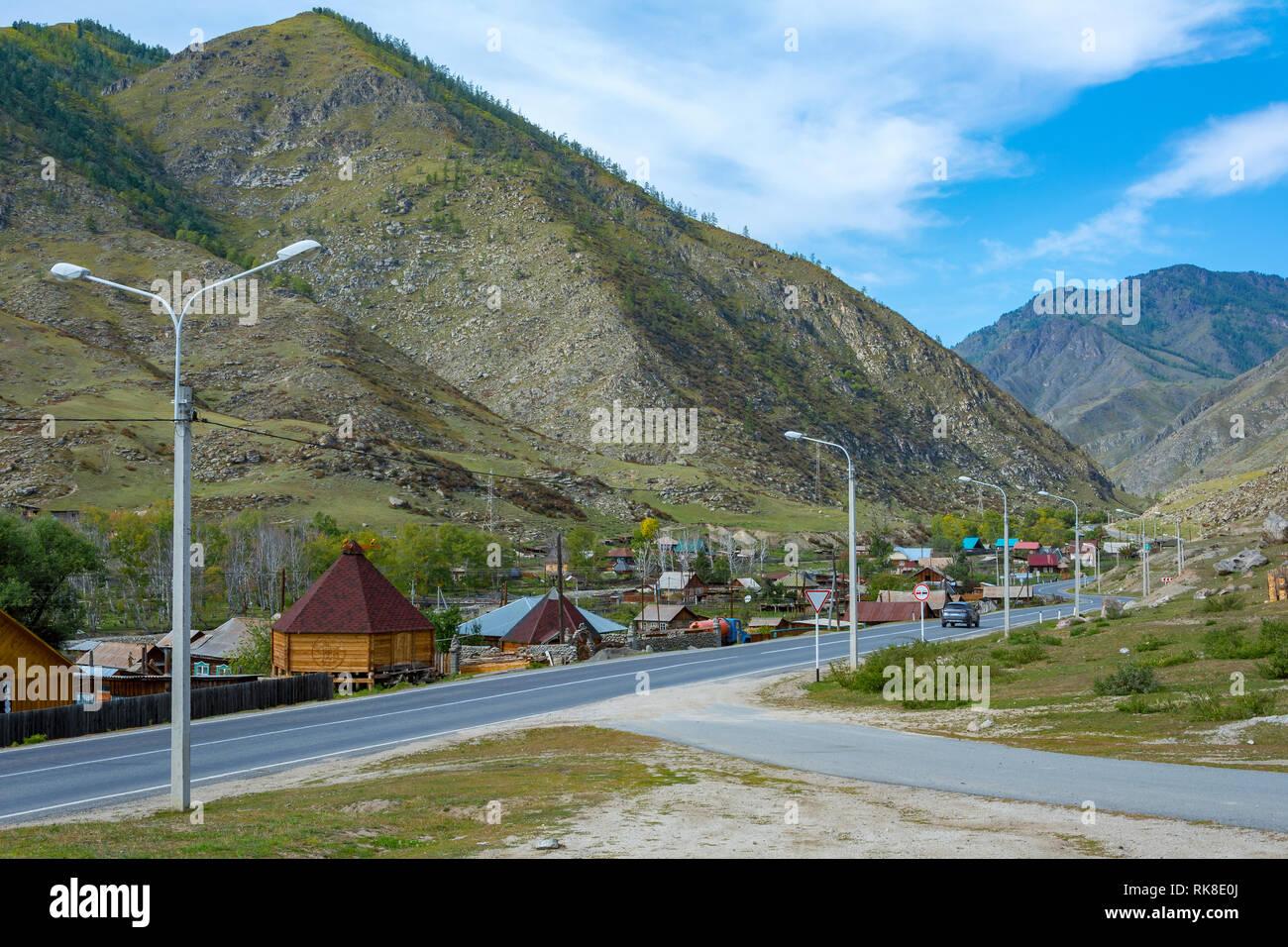 Kupchegen village on the Chuyskiy tract, Altai Republic - Stock Image