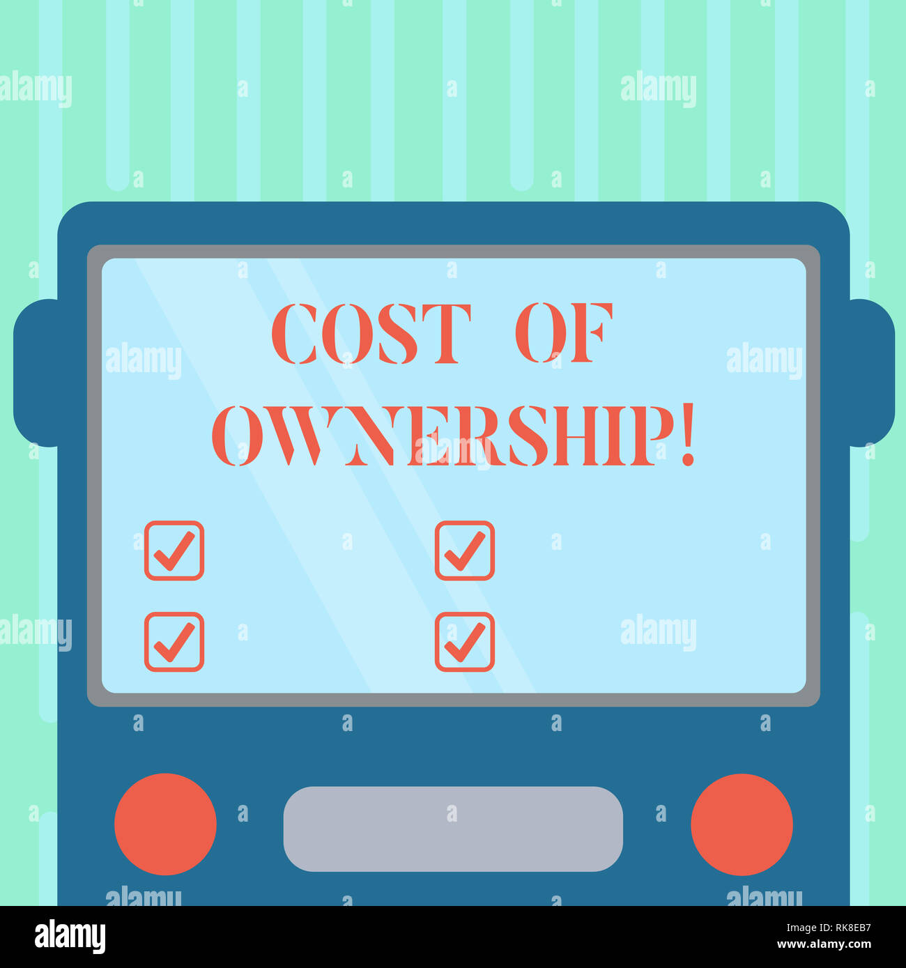 Word writing text Cost Of Ownership. Business concept for purchase price of asset plus the price of operation Drawn Flat Front View of Bus with Blank  Stock Photo