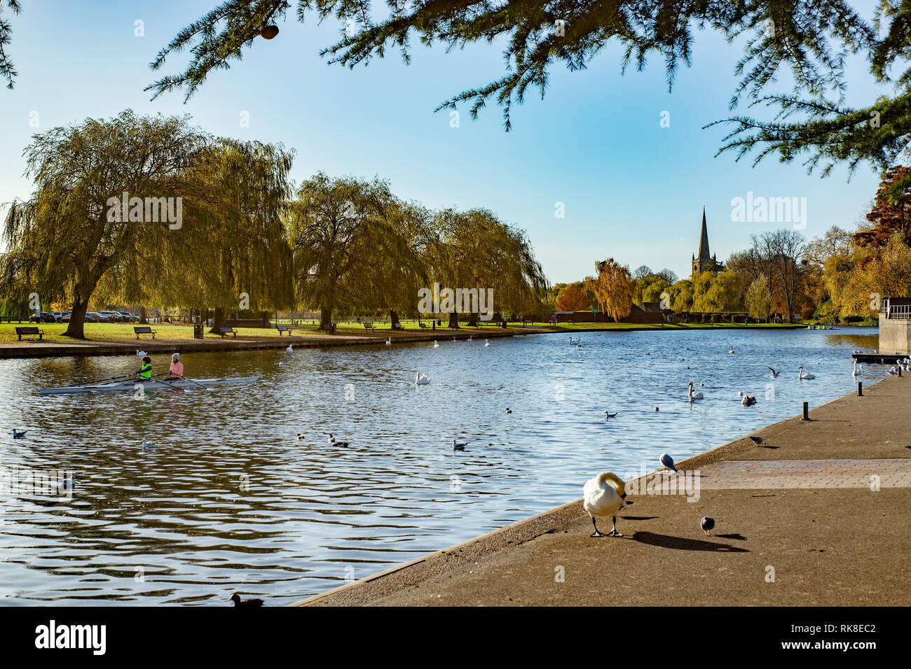 Postcard scene of the canal in Stratford Upon Avon in England. Home of William Shakespear. - Stock Image