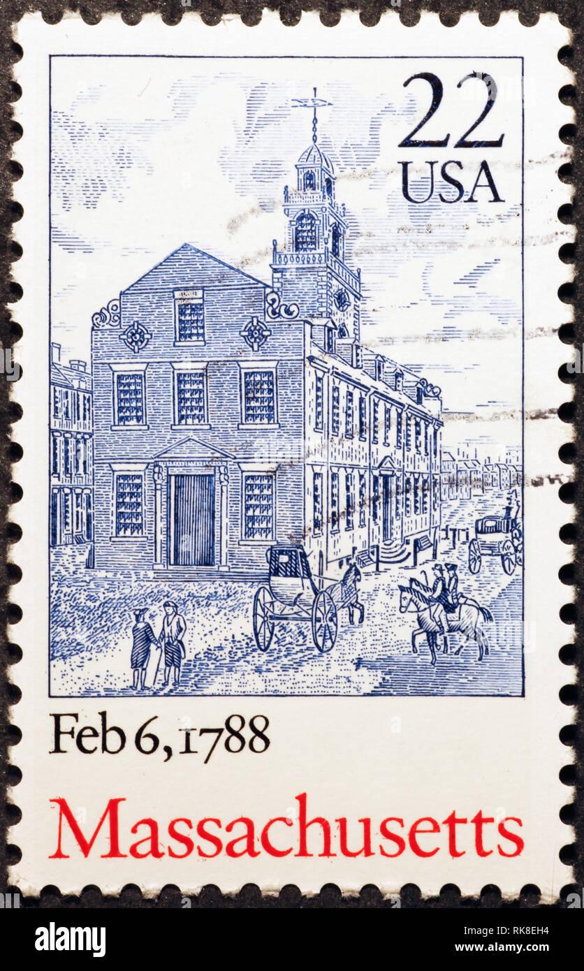 Celebration of Massachusetts on american postage stamp - Stock Image