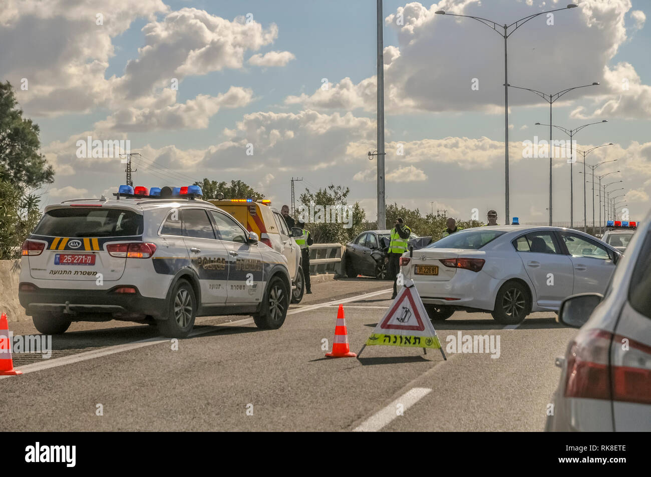 Road blocked due to a traffic accident. Photographed in the Galilee, Israel - Stock Image