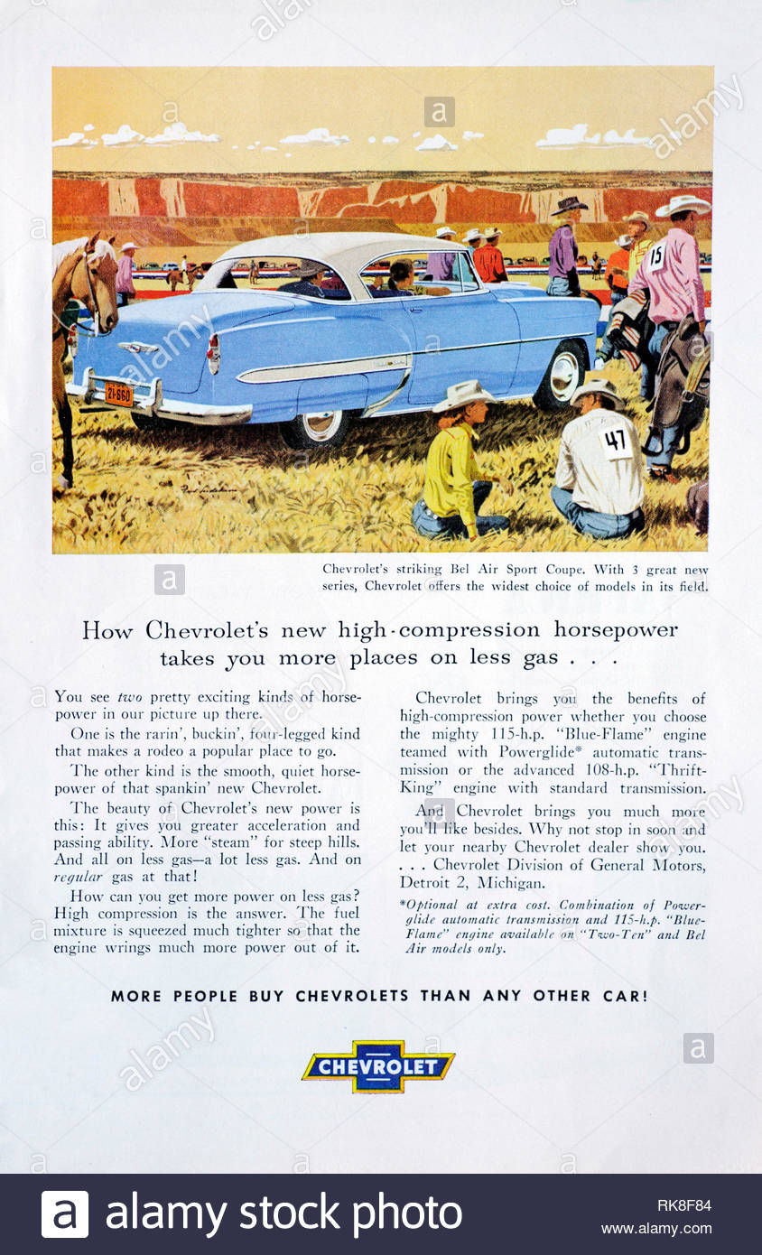 Vintage advertising for the Chevrolet Bel Air Sport Coupe Car 1953 - Stock Image