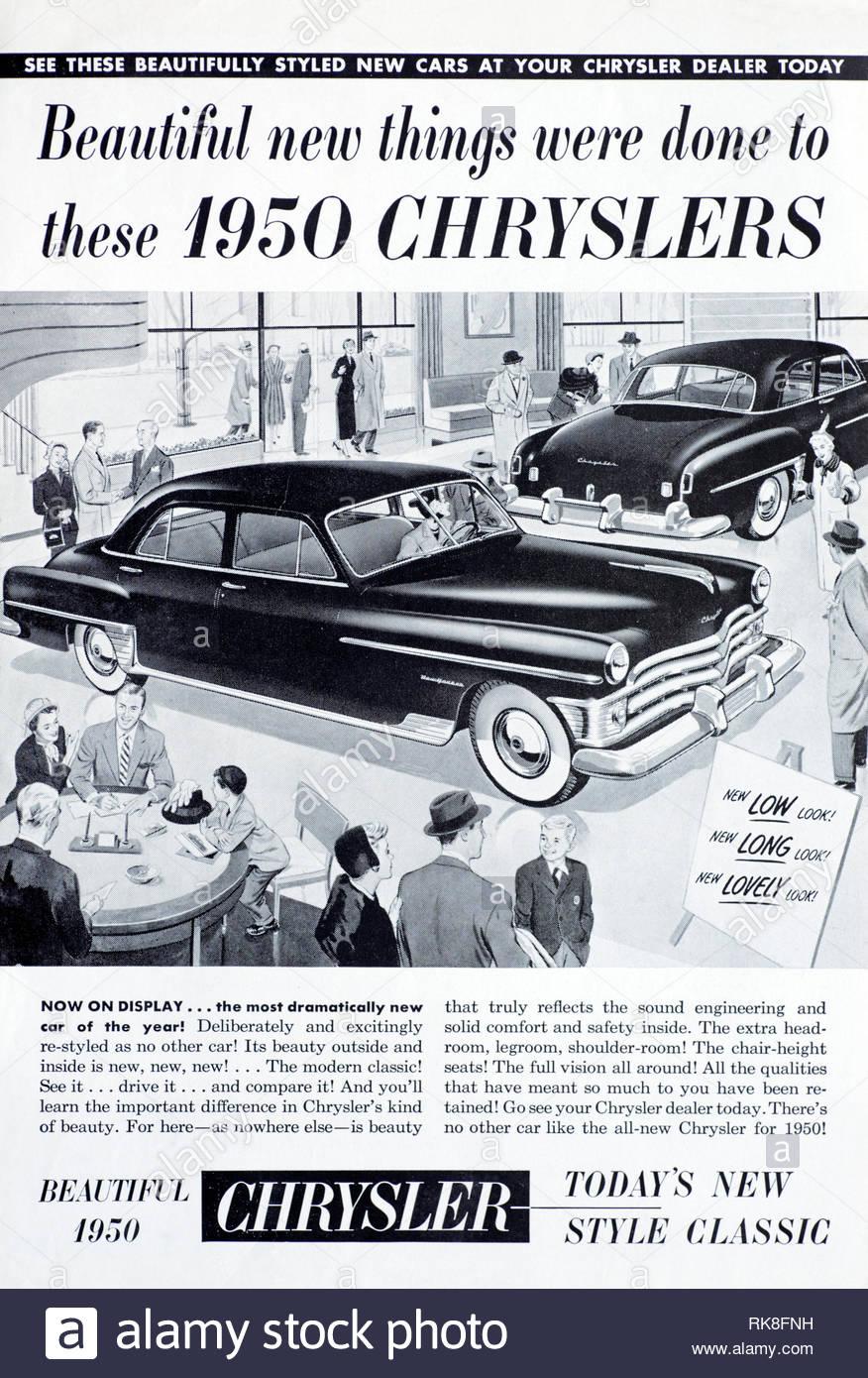 Vintage advertising for the Chrysler New Yorker Newport Car 1950 - Stock Image