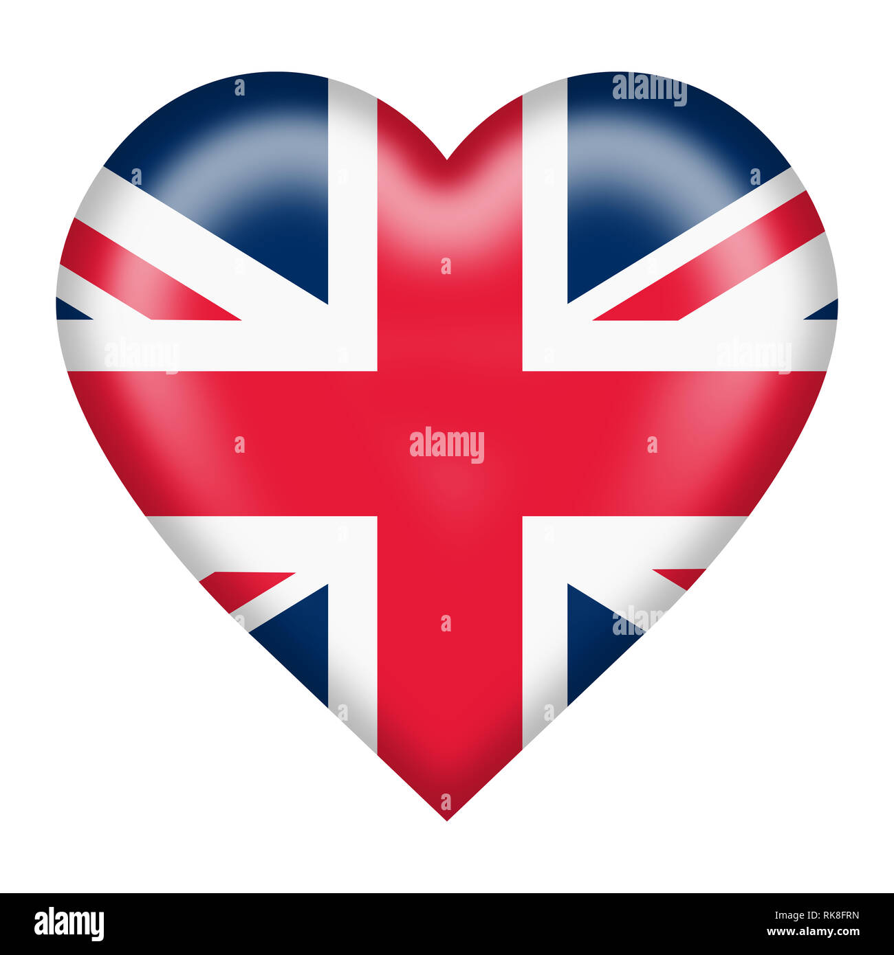 A union flag heart button isolated on white with clipping path Stock Photo