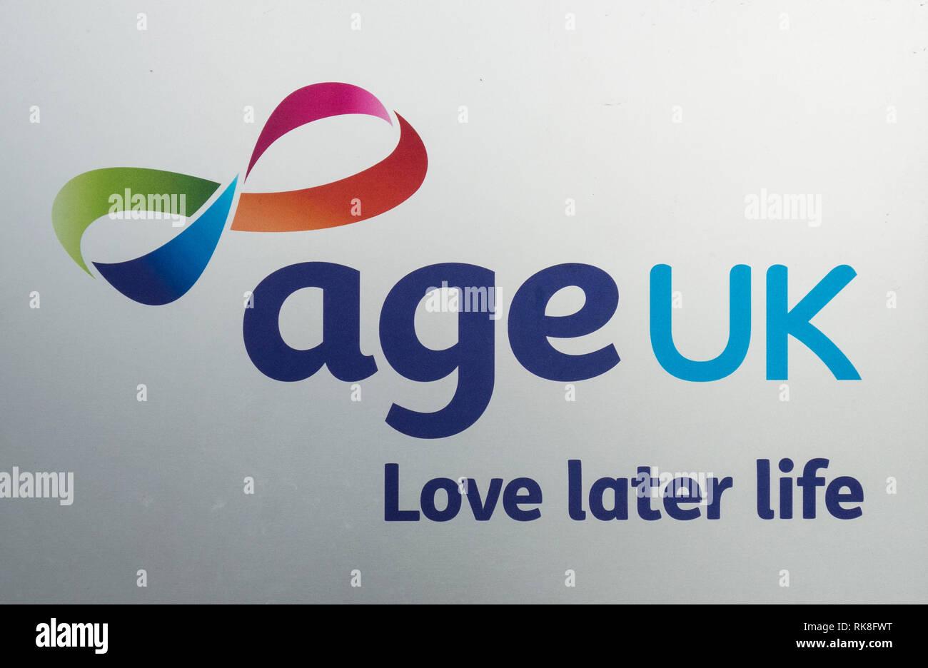 Age UK - Love Later Life signage - Stock Image