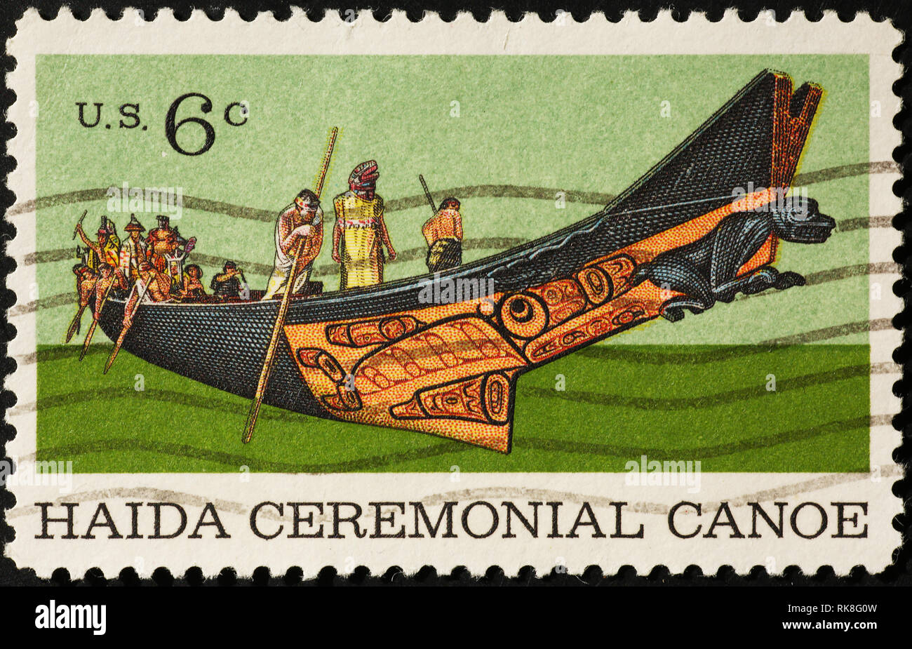 Haida ceremonial canoe on american postage stamp - Stock Image