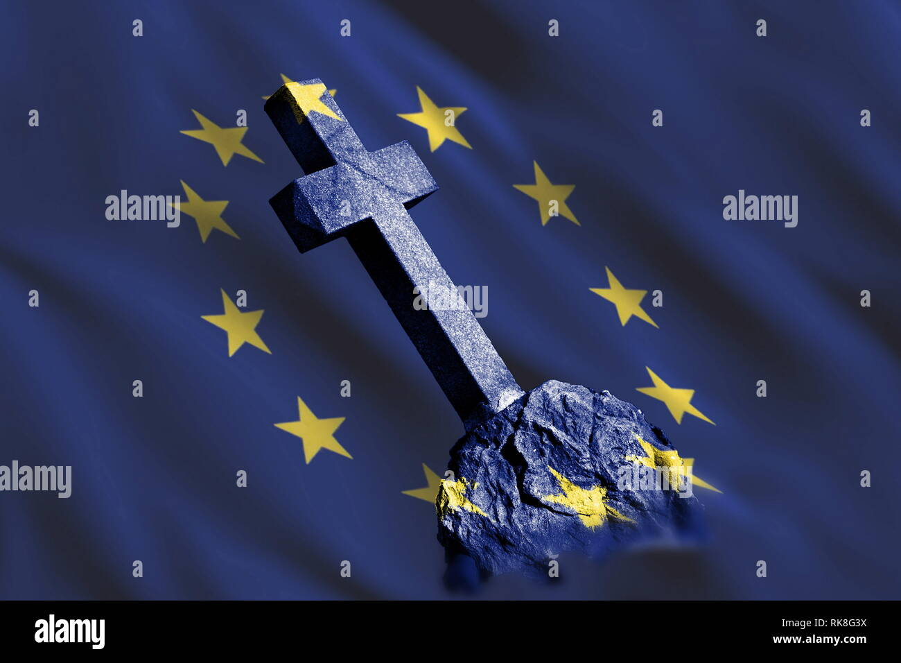 Gravestone with flag of European union as metaphor of disintegration and collapse of EU because of problems Stock Photo