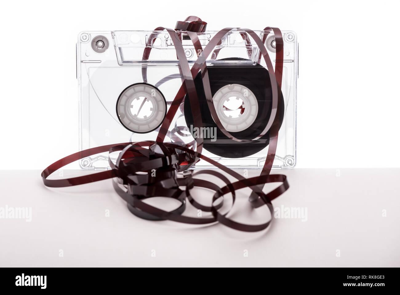 Vintage audio tape cassette on white background. Tape cassette. - Stock Image