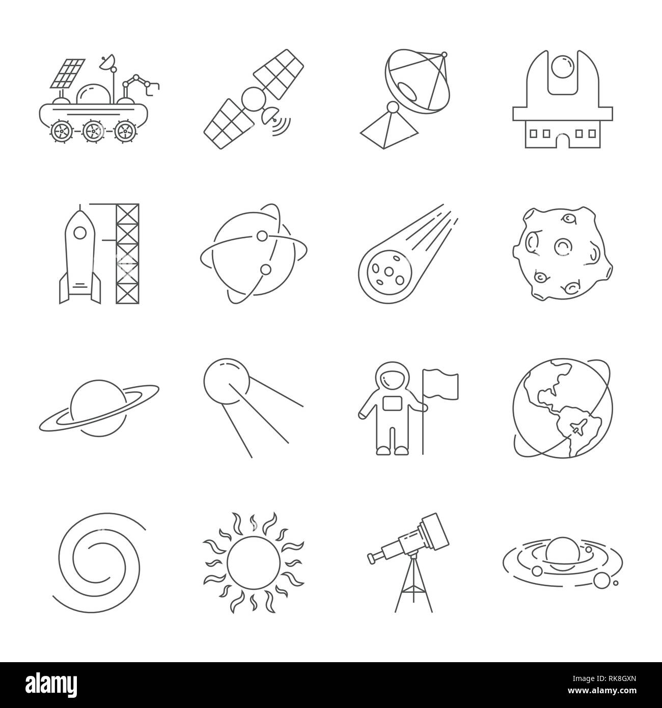 Simple Set of Space Related Vector Line Icons. Contains such Icons as Observatory, Planet Earth, Asteroid, Astronaft, Saturn, Moon, Moon Rover, Solar Stock Vector