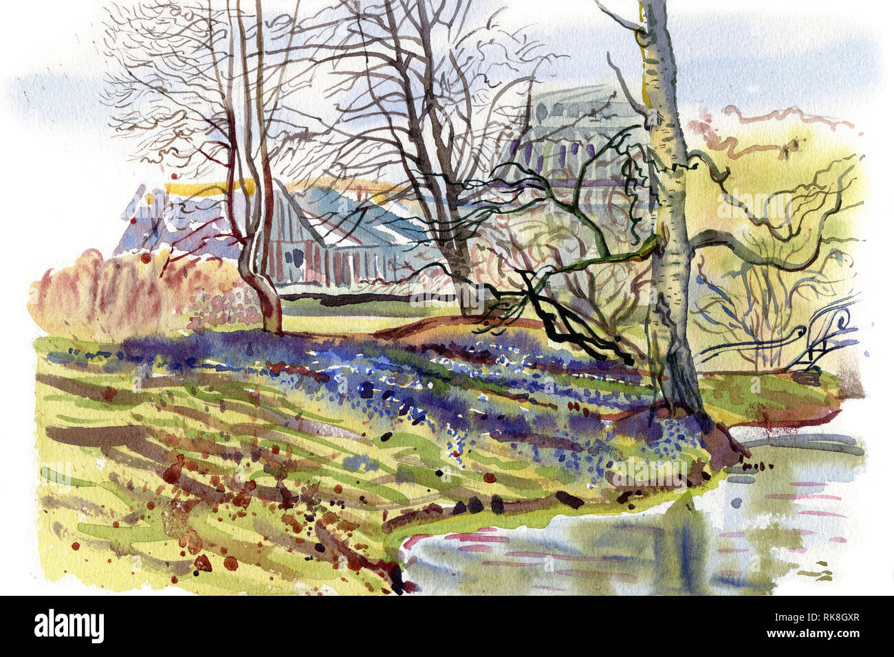Spring Garden Landscape Watercolor Sketch Hand Drawn Painting