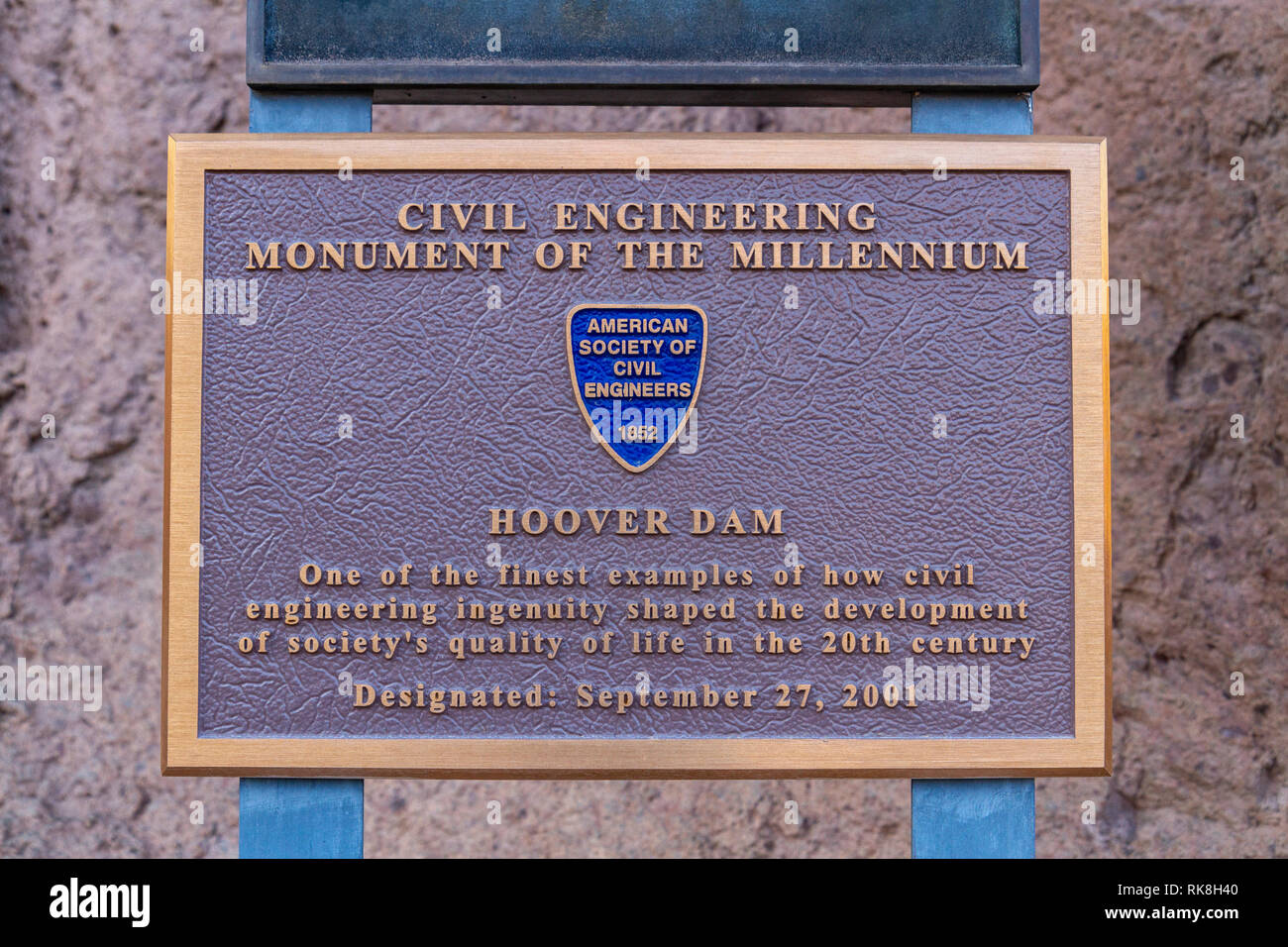 A Civil Engineering Monument of the Millennium plaque (2001) in Hoover Dam, Nevada, United States. - Stock Image