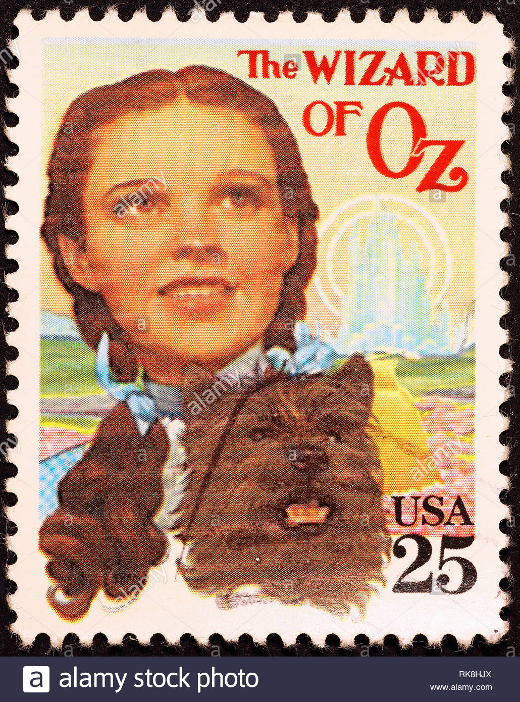Movie Wizard of Oz on american postage stamp - Stock Image