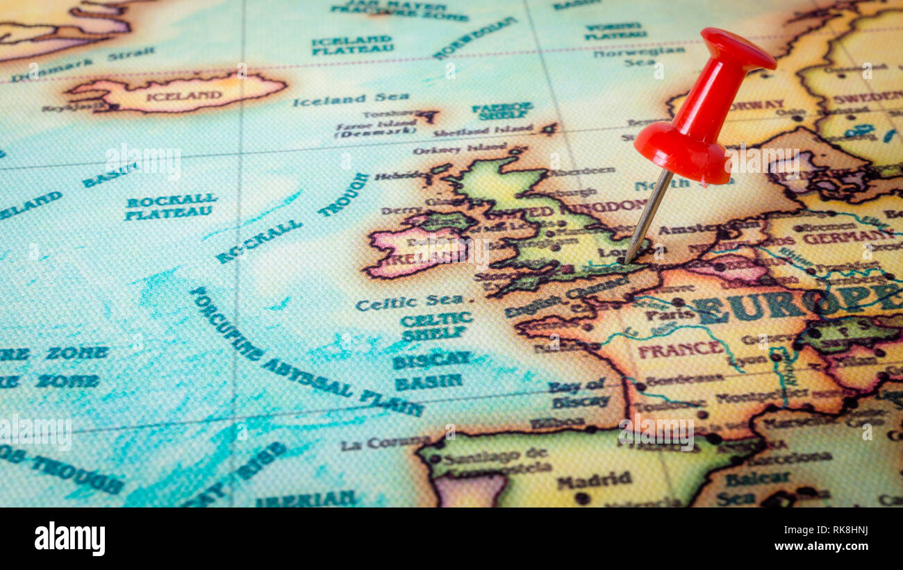 Red Pin On London Europe Map Stock Photo 235602798 Alamy