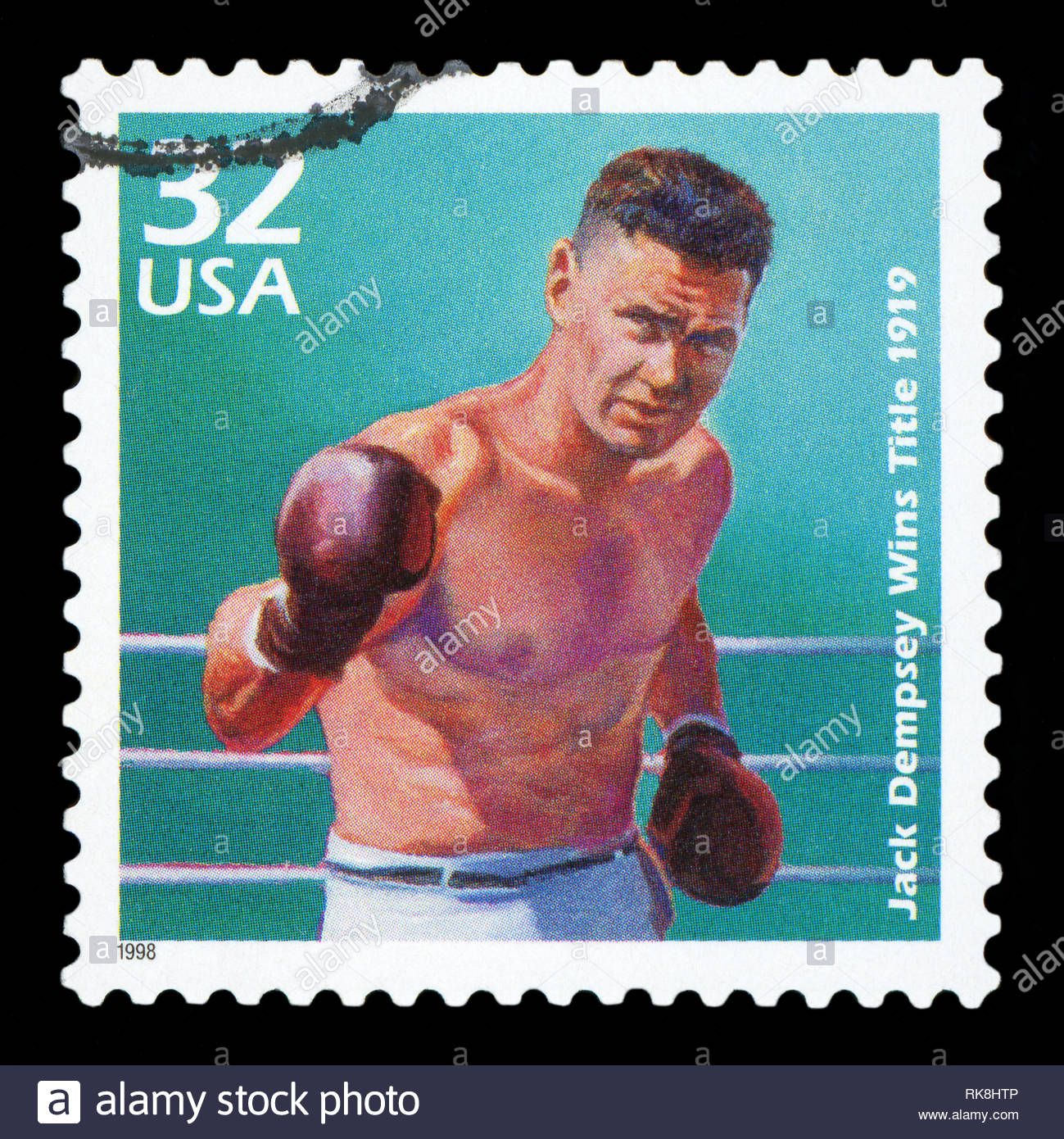 UNITED STATES OF AMERICA - CIRCA 1998: a postage stamp printed in USA showing an image of boxer Jack Dempsey, circa 1998. - Stock Image