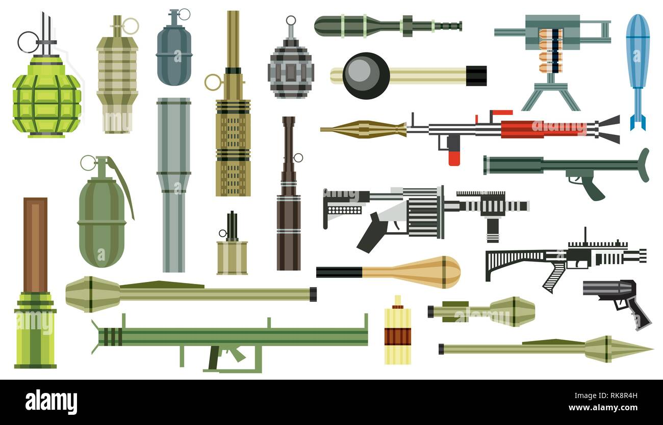 Arms Grenade Set. Military Weapon. Grenade Launcher Isolated on White Background. Vector Illustration. - Stock Vector