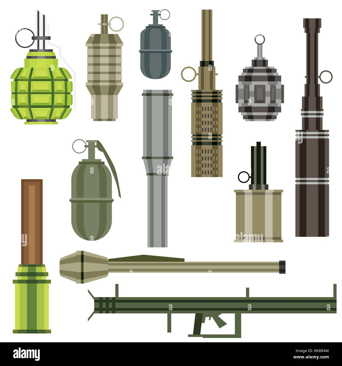 Grenade Set. Military Weapon. Grenade Launcher Isolated on White Background. Vector Illustration. - Stock Vector