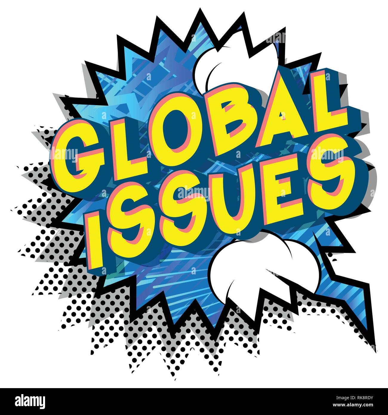 Global Issues - Vector illustrated comic book style phrase on abstract background. - Stock Vector