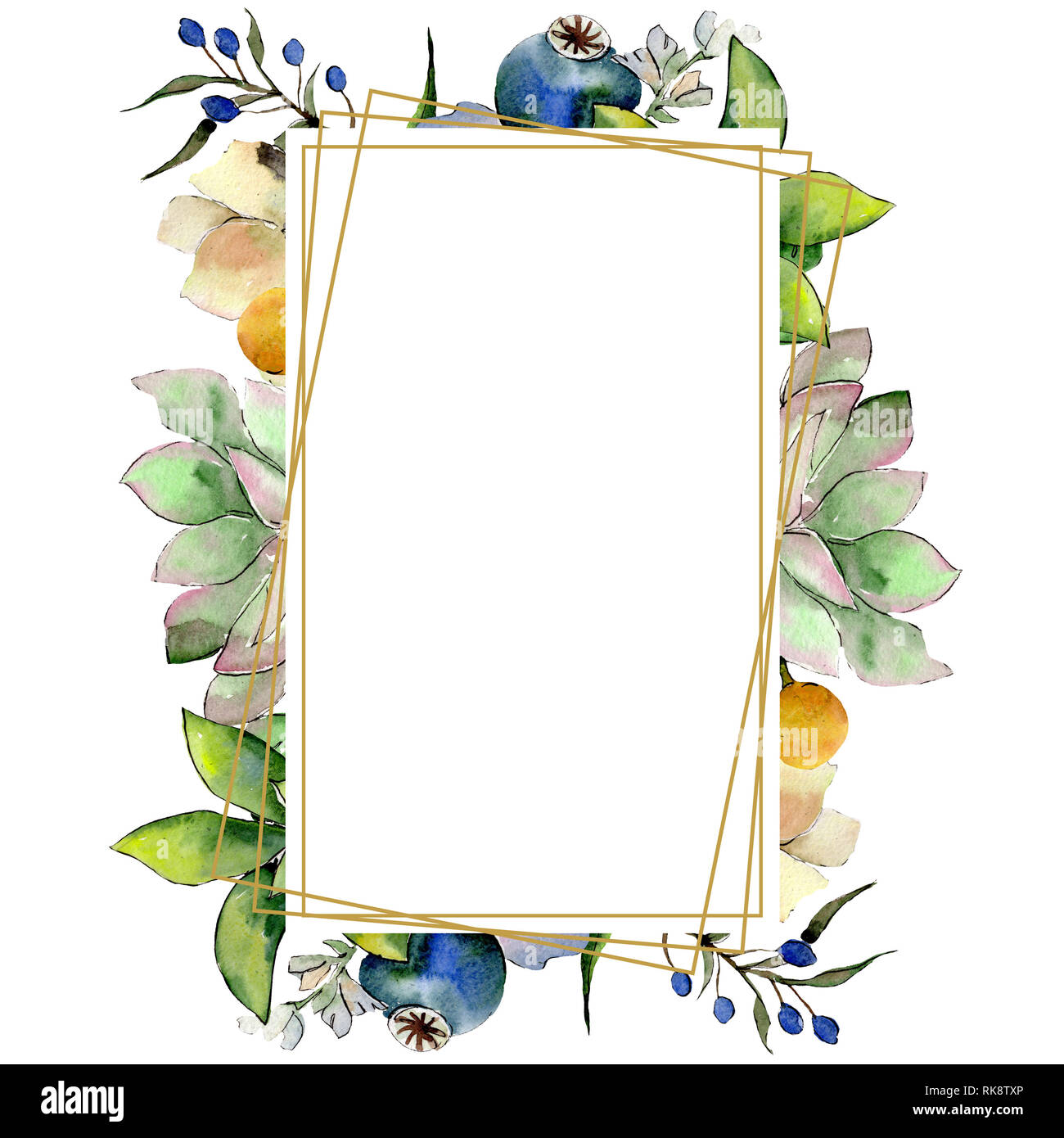 Bouquets With Succulent Botanical Flowers Watercolor Background Illustration Set Frame Border Crystal Ornament Square Stock Photo Alamy