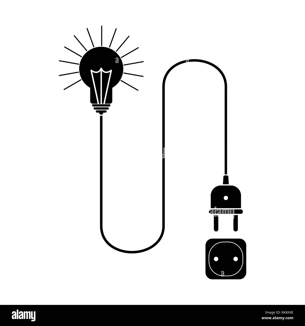 light bulb with a wire and a plug is connected to an electrical outlet - Stock Vector