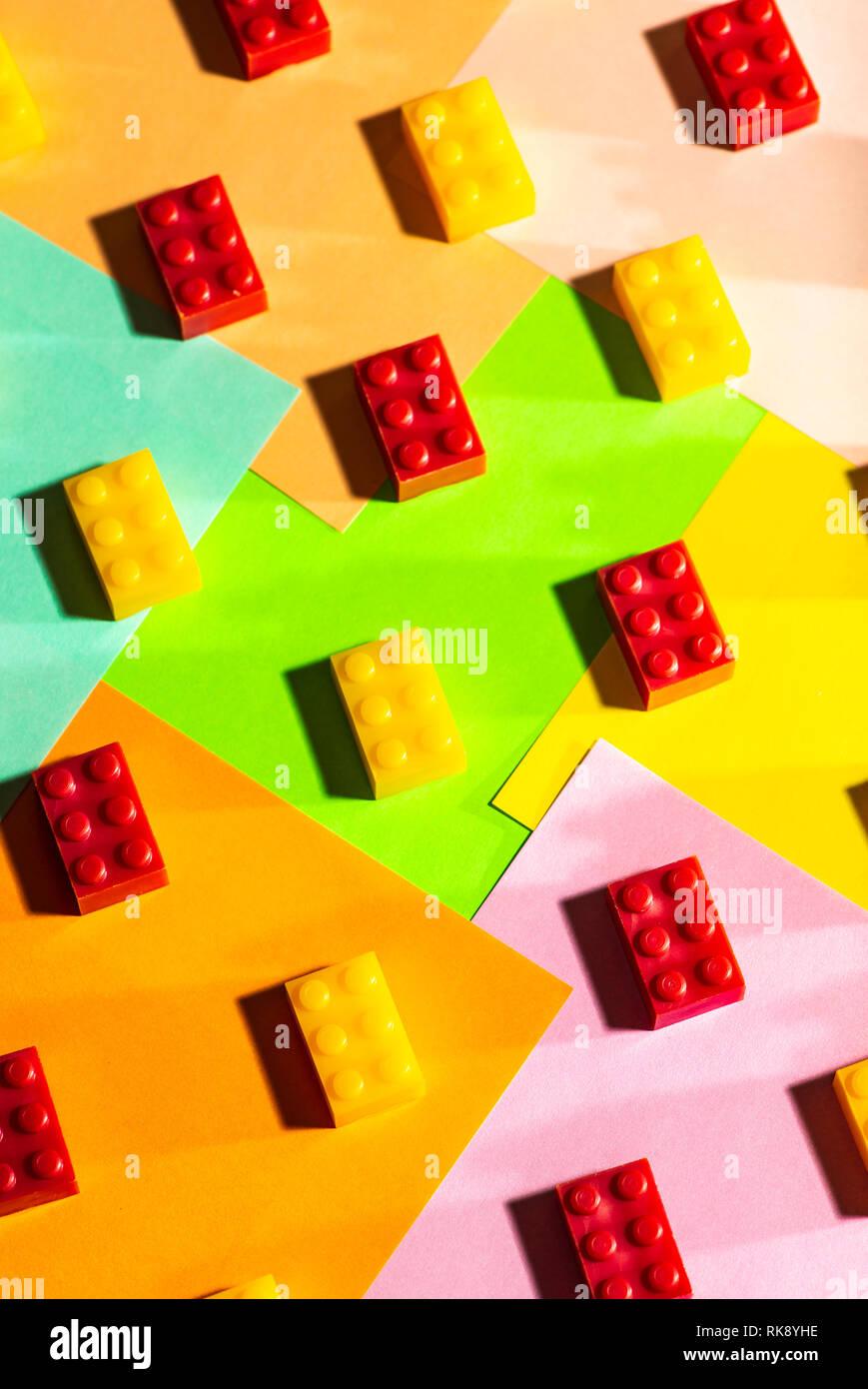 Plastic geometric cubes  Construction toys on geometric