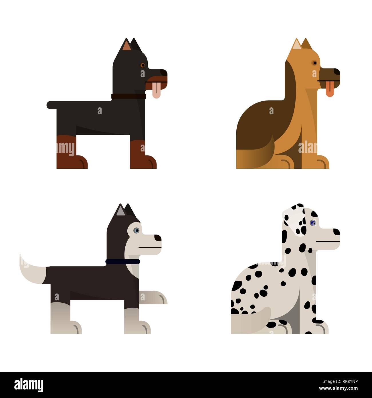 Thoroughbred dogs sits and stand. Vector illustration. Flat icons set. - Stock Vector