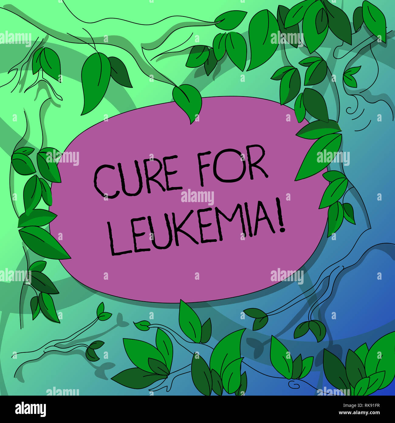Handwriting text writing Cure For Leukemia. Concept meaning transplantation high doses of chemotherapy or radiation Tree Branches Scattered with Leave - Stock Image