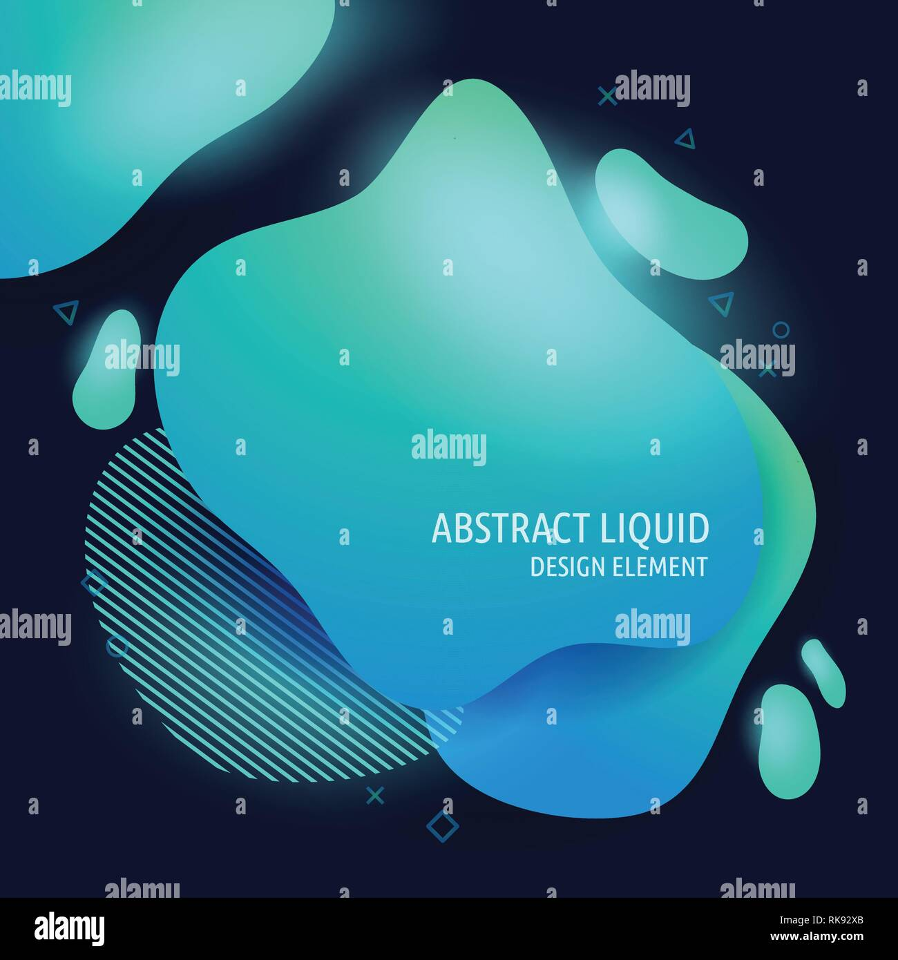 Abstract modern flowing liquid shapes design elements. Dynamical bright blue gradient colored banner - Stock Vector