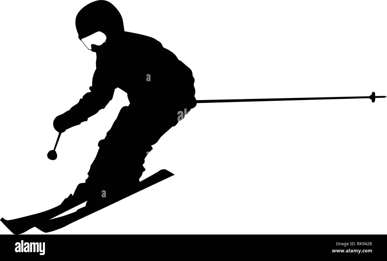 Silhouette of a boy skiing on a slope - vector - Stock Image