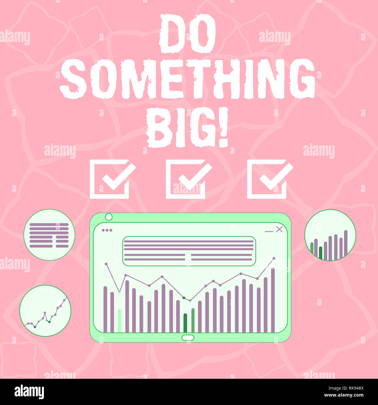 Word writing text Do Something Big. Business concept for achieving a such position which is beyond expectations Digital Combination of Column Line Dat - Stock Image