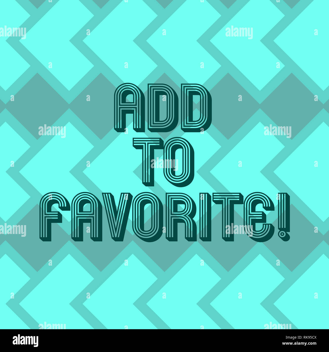Writing note showing Add To Favorite. Business photo showcasing Like a page social network community stay always connected Geometrical Blank Color Squ - Stock Image
