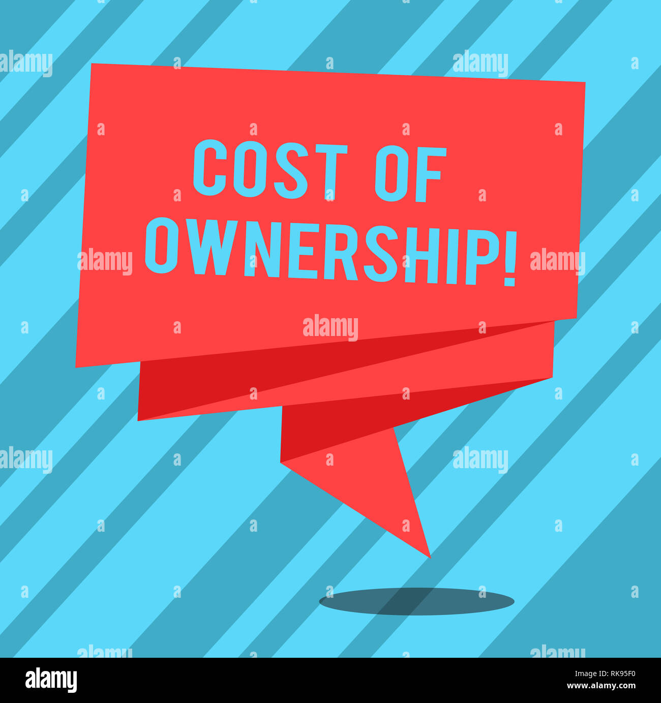 Text sign showing Cost Of Ownership. Conceptual photo purchase price of asset plus the price of operation Folded 3D Ribbon Strip Solid Color Blank Sas - Stock Image