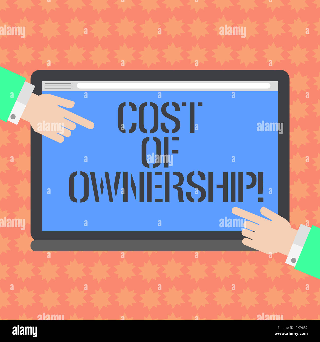 Writing note showing Cost Of Ownership. Business photo showcasing purchase price of asset plus the price of operation Hu analysis Hands Pointing on a  - Stock Image