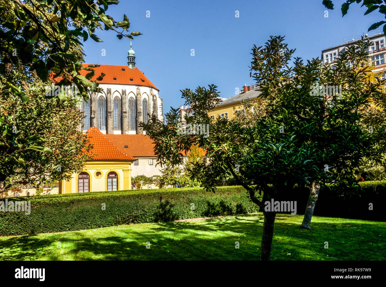 Prague Gardens, Prague Franciscan Garden, Church of Our Lady of the Snows, Czech Republic - Stock Image