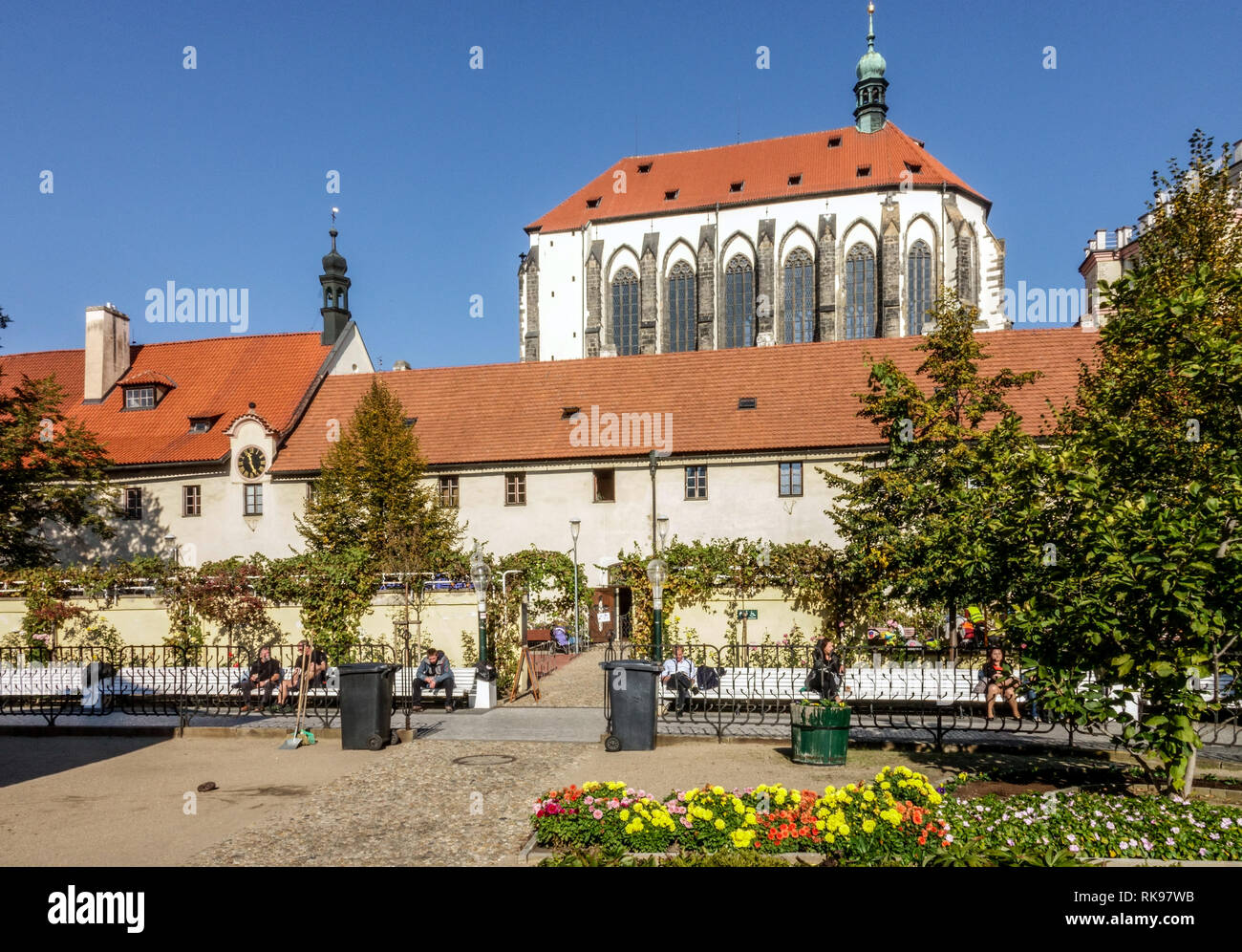 Church of Our Lady of the Snows view from Prague Franciscan Garden, Czech Republic - Stock Image